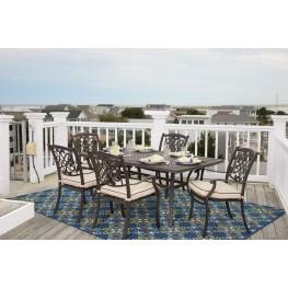 Burnella Beige and Brown Outdoor Rectangular Dining Room Set