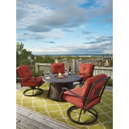 Burnella Round Fire Pit Outdoor Dining Set