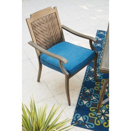Partanna Blue and Beige Outdoor Chair Set of 4