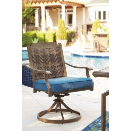 Partanna Blue and Beige Outdoor Swivel Chair Set of 2