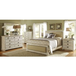 Willow Distressed White Upholstered Bedroom Set