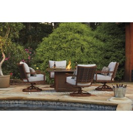Zoranne Beige and Brown Square Fire Pit Outdoor Dining Set