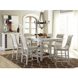 Willow Distressed White Rectangular Counter Height Dining Room Set