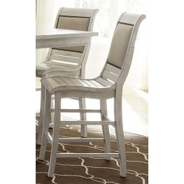 Willow Distressed White Counter Upholstered Chair Set of 2