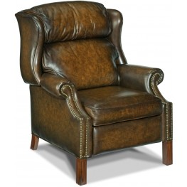 Finley Dark Walnut Leather Recliner
