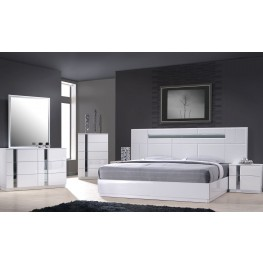 Palermo White Lacquer Platform Bedroom Set