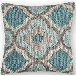 PILL22920SQ Grey and Blue Filigree Pillow