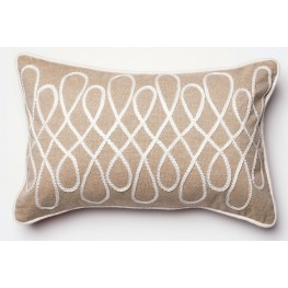 Candis Beige and White Rectangular Pillow
