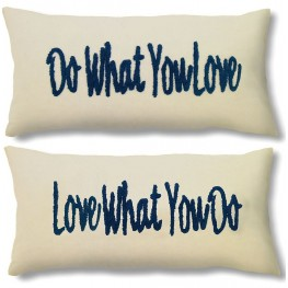 "Quo Ivory and Blue 14"" Pillow Inspiration Set of 2"