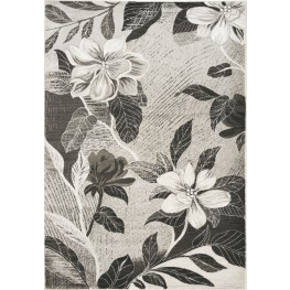 "Platinum Antiqued Silver Flowers 63"" Rug"