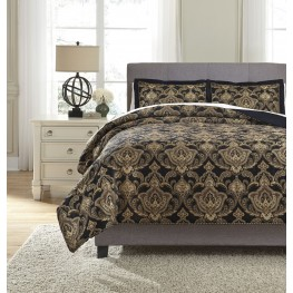 Amberlin Onyx and Gold Queen Comforter Set
