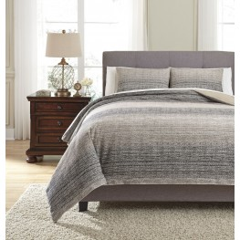 Arturo Natural and Charcoal King Duvet Cover Set