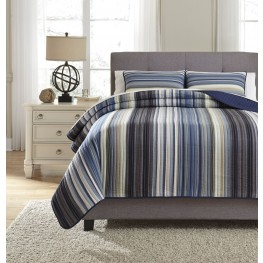 Jayson Navy Blue Queen Quilt Set