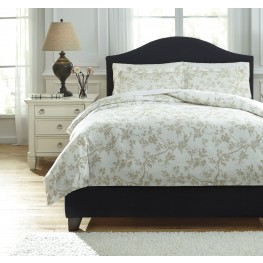 Florina Natural and White Queen Duvet Cover Set