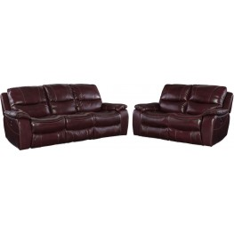 Gregory Red Leather Power Reclining Living Room Set