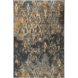 Kayson Blue and Gray and Yellow Large Rug