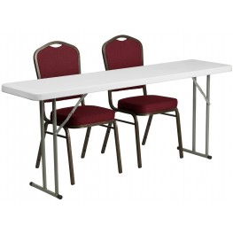"18"" Plastic Folding Training Table with 2 Crown Back Stack Chairs"