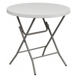 "RB-32R-GW-GG 32"" Round Granite White Plastic Folding Table"