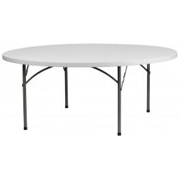 "RB-72R-GG 72"" Round Granite White Plastic Folding Table"