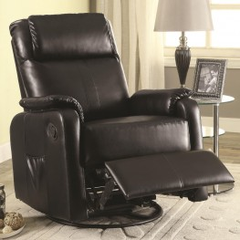 600041 Black leatherette Swivel Glider Recliner