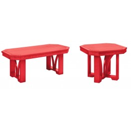 "St Tropez Red 42"" Occasional Table Set"