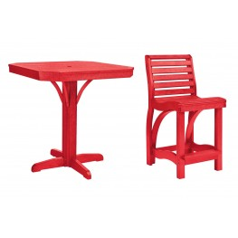 """St Tropez Red 35"""" Square Counter Dining Room Set"""