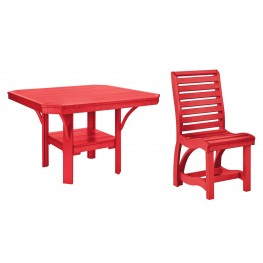 "St Tropez Red 45"" Square Dining Room Set"