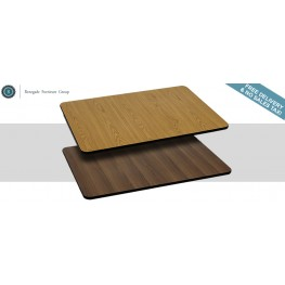 24x30 Rectangular Table Top With Natural/Walnut Reversible Laminate Top