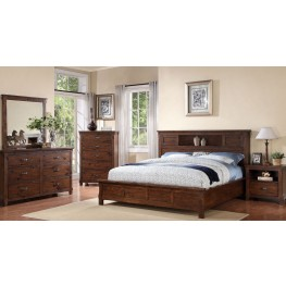 Restoration Rustic Walnut  Platform Storage Bedroom Set