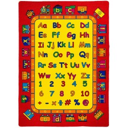 Abbey Alphabet and Red Small Area Rug