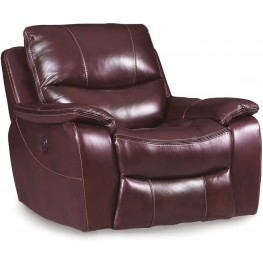 Gregory Red Power Leather Glider Recliner