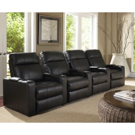 Plaza Black Bonded Leather Power Reclining Straight Row 4 Seats Home Theater Seating