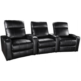 Plaza Black Bonded Leather Power Reclining Curved 3 Seats Home Theater Seating