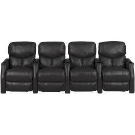 Applause Black Bonded Leather Reclining 4 Seats Home Theater Seating