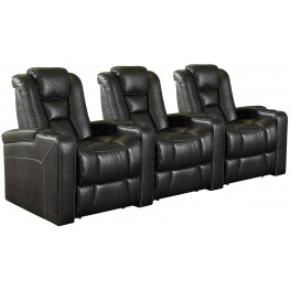 Evolution Black Leathaire Fabric Power Reclining Straight Row 3 Seats Home Theater Seating