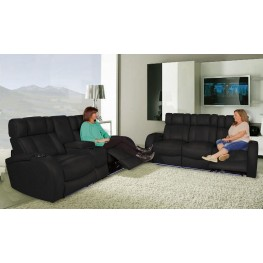 Andromeda Black Leather Gel Power Reclining Living Room Set