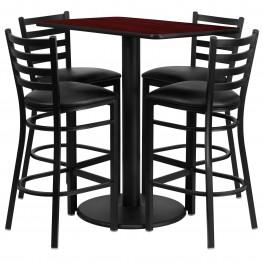 "24"" Rectangular Mahogany Table Set with 4 Ladder Back Black Vinyl Bar Stools"