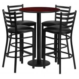 "30"" Round Mahogany Table Set with 4 Ladder Back Black Vinyl Bar Stools"