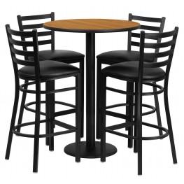 "30"" Round Natural Table Set with 4 Ladder Back Black Vinyl Bar Stools"