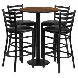 "30"" Round Walnut Table Set with 4 Ladder Back Black Vinyl Bar Stools"