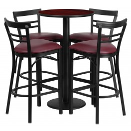 "24"" Round Mahogany Table Set with 4 Ladder Back Burgundy Vinyl Bar Stools"