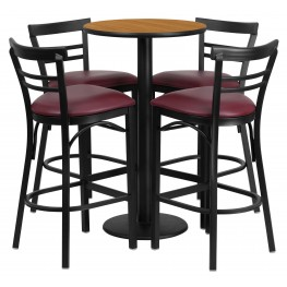 "24"" Round Natural Table Set with 4 Ladder Back Burgundy Vinyl Bar Stools"