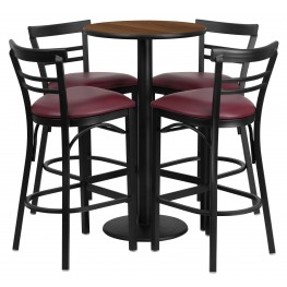 "24"" Round Walnut Table Set with 4 Ladder Back Burgundy Vinyl Bar Stools"