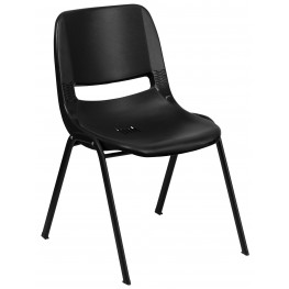 "Hercules Series Black 29"" Ergonomic Shell Stack Chair with Black Frame"