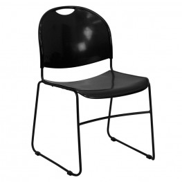 Hercules Black High Density Ultra Compact Stack Chair with Black Frame