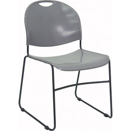 Hercules Gray High Density, Ultra Compact Stack Chair with Black Frame