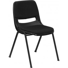 Hercules Black Ergonomic Shell Stack Chair with Padded Seat and Back