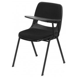 Padded Black Shell Chair with Left Handed Tablet Arm