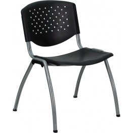 Hercules Black Polypropylene Stack Chair with Titanium Frame Finish