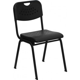 Hercules Black Plastic Stack Chair with Black Powder Coated Frame